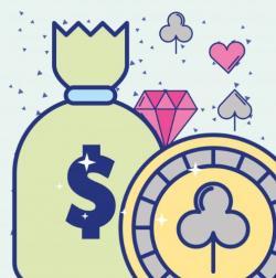 pengasäck med diamanter och gul spelmark